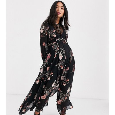Forever New Petite maxi dress in black floral-Multi