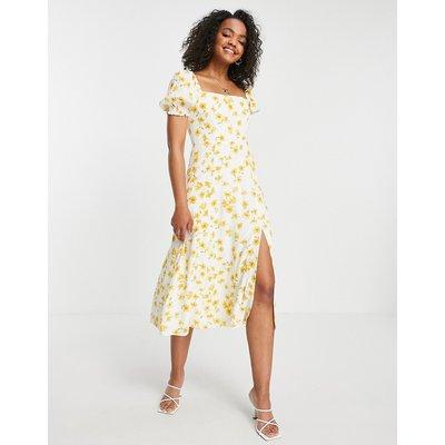 Forever New short sleeve midi tea dress in buttercup print-Multi