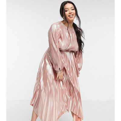 Forever U Curve metallic pleated dress in rose gold-Pink