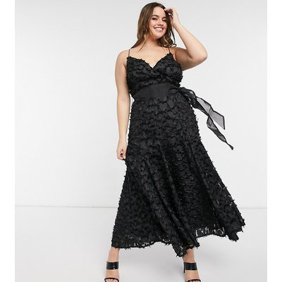 Forever U Curve midi dress with fringe 3D fabrication in black