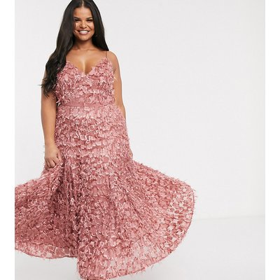 Forever U Curve midi dress with fringe 3D fabrication in dusty rose-Pink