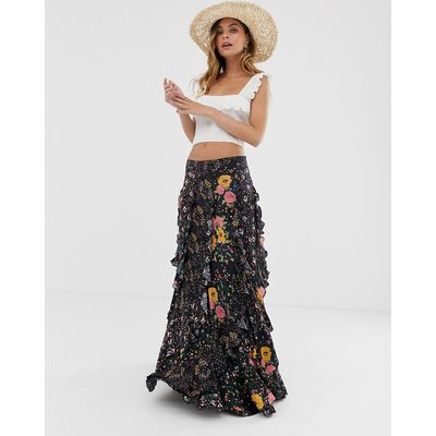 Free People forever flirt layered floral skirt-Black