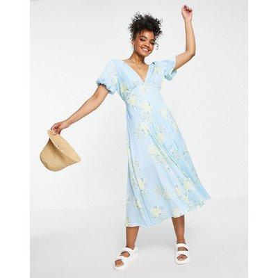 Free People Laura floral printed midi tea dress in blue