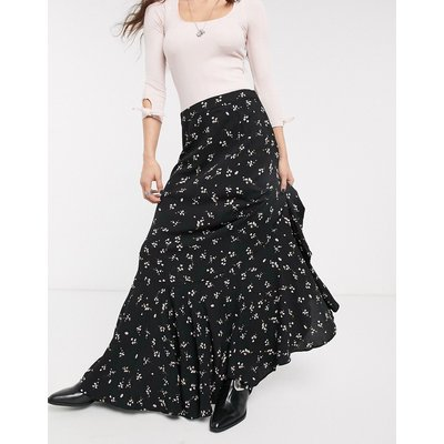 Free People ruby's forever floral maxi skirt-Black