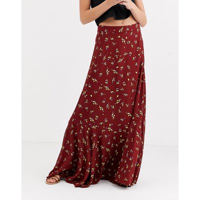 Free People ruby's forever floral maxi skirt-Brown