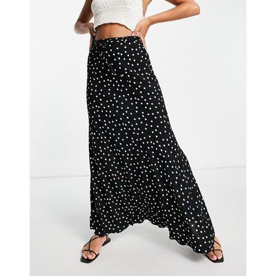Free People That's A Wrap printed maxi skirt in black