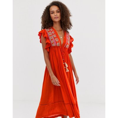 Free People Will Wait For You embroidered tassel midi dress