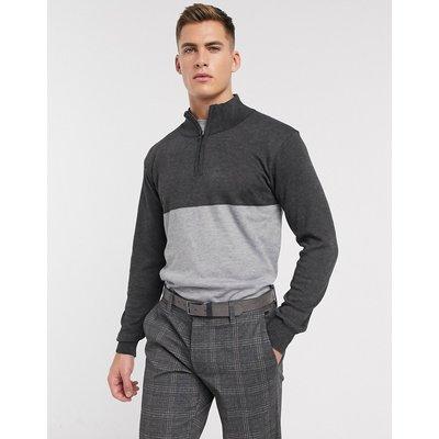 French Connection – 2-farbiger Pullover mit kurzem Reißverschluss-Grau