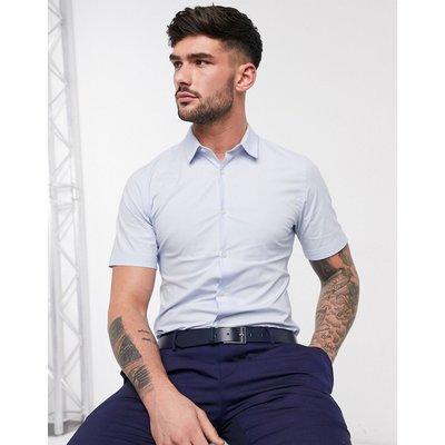 French Connection – Einfarbiges, kurzärmliges Hemd-Blau