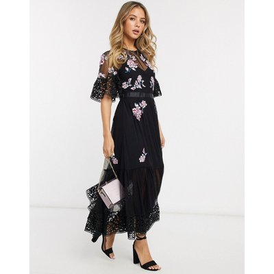 French Connection embroidered maxi dress in black