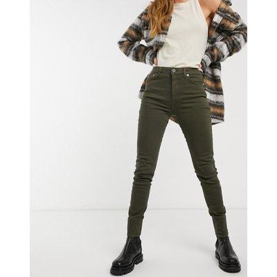 French Connection – Enge Jeans aus Bio-Baumwolle mit hohem Bund in Grün