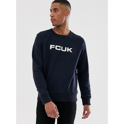 French Connection – FCUK – Sweatshirt mit Rundhalsausschnitt und Logo-Navy