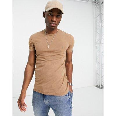 French Connection – Figurbetontes T-Shirt mit Rundhalsausschnitt in Camel-Braun   FRENCH CONNECTION SALE
