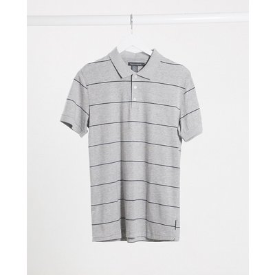 French Connection – Gestreiftes Polohemd aus Baumwolle-Grau