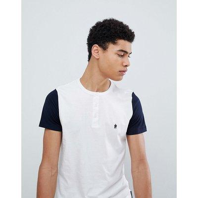 French Connection – Henley-T-Shirt mit abgesetzten Ärmeln-Weiß