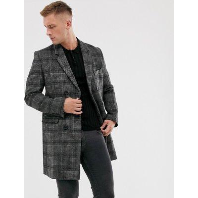 French Connection – Karierter, zweireihiger Mantel aus hochwertigem Wollmix-Grau