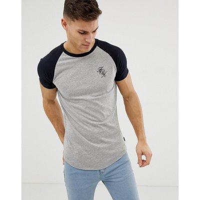 French Connection – Lang geschnittenes T-Shirt mit Raglanärmeln und Logo-Mehrfarbig