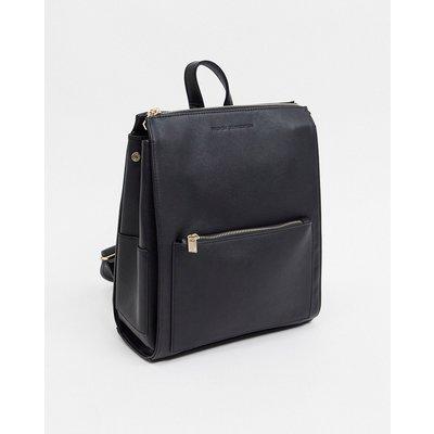 French Connection – Oversize-Backpack aus Leder mit Reißverschluss-Schwarz