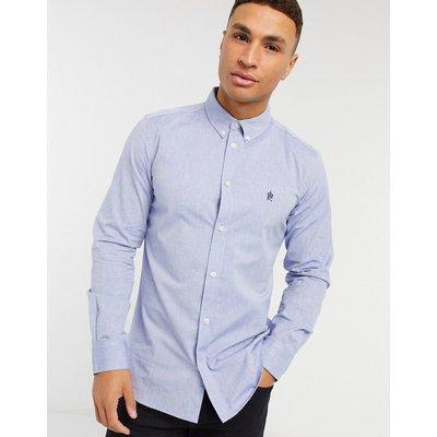 French Connection – Oxford-Hemd mit Button-down-Kragen und Logo in Mittelblau