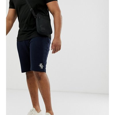 French Connection Plus – Jersey-Shorts mit Logoschriftzug-Navy