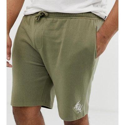 French Connection Plus – Jersey-Shorts mit Logoschriftzug-Grün