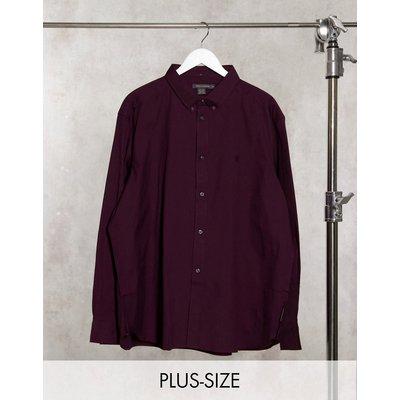 French Connection Plus – Oxfordhemd mit Button-down-Kragen und Logo in Burgunderrot