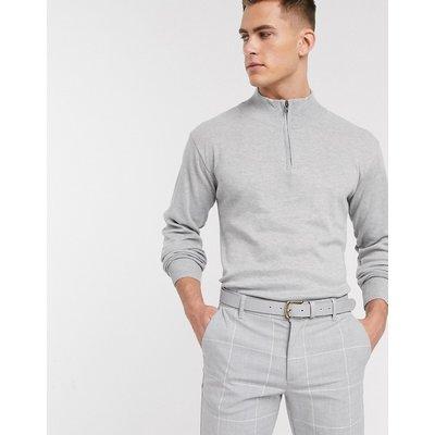 French Connection – Pullover mit weichem Griff und Reißverschluss am Ausschnitt-Grau