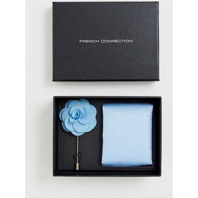French Connection – Schlichtes Einstecktuch und Krawattennadel im Set-Blau