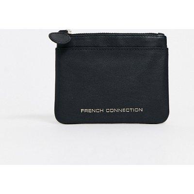 French Connection – Schwarze Brieftasche aus Leder mit Reißverschluss