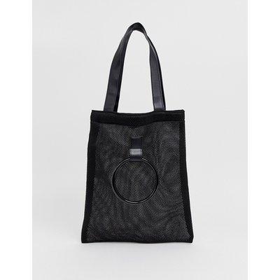 French Connection – Shopper-Tasche aus Netzstoff mit Tragegriff-Schwarz