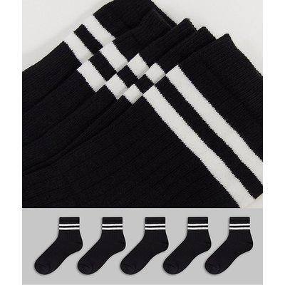 French Connection – Sportsocken mit 2Streifen im 5er-Pack in Schwarz und Weiß