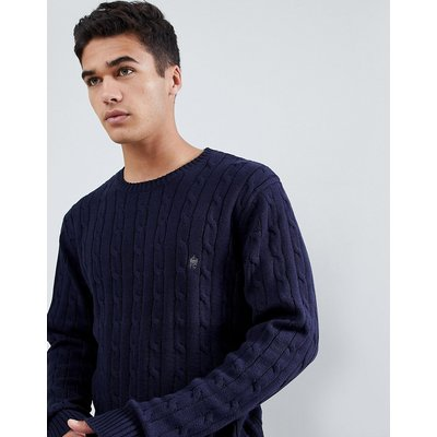 French Connection – Strickpullover aus 100% Baumwolle mit Zopfmuster und Logo-Navy