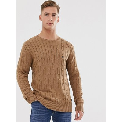 French Connection – Strickpullover mit Zopfmuster aus 100 % Baumwolle-Bronze