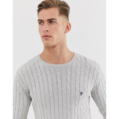 French Connection – Strickpullover mit Zopfmuster aus 100 % Baumwolle-Grau