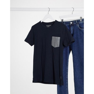 French Connection – T-Shirt mit karierter Brusttasche in Marineblau-Navy