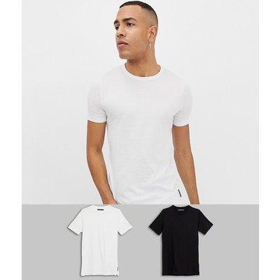 French Connection TALL – Schlichte T-Shirts im 2er-Pack-Schwarz