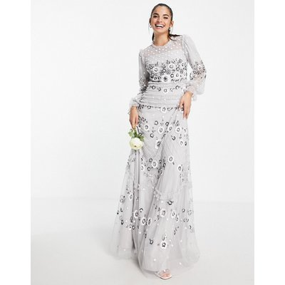 Frock and Frill all over embroidered maxi dress in light grey