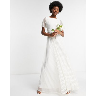 Frock and Frill Bridal embroidered midaxi dress with floaty skirt in white