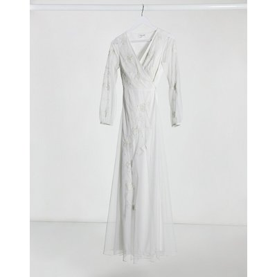 Frock & Frill embroidered wrap maxi dress in ivory-White
