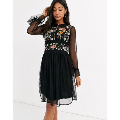 Frock & Frill mesh long sleeve embroidered detail collar dress-Black