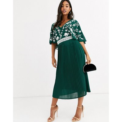 Frock & Frill monochrome embroidered upper midi dress-Green