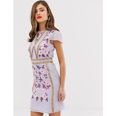 Frock & Frill shift dress with embroidered detail-Purple
