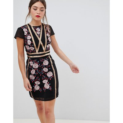 Frock & Frill short sleeve dress with embroidered panel-Black