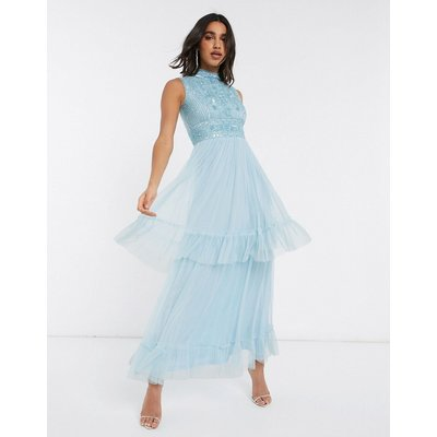 Frock & Frill tiered tulle maxi dress in blue-Yellow