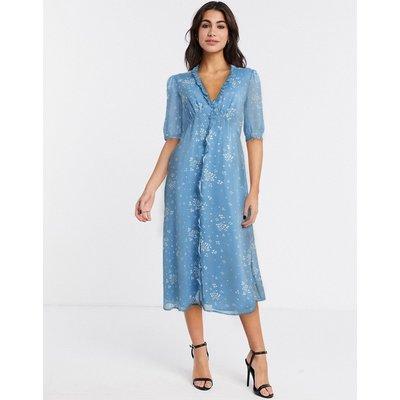 Gestuz button down tea dress in blue