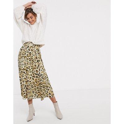 Gestuz Tjekke leopard print midi skirt-Yellow
