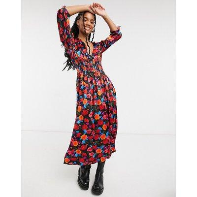 Ghost London midi tea dress in dark based floral-Multi