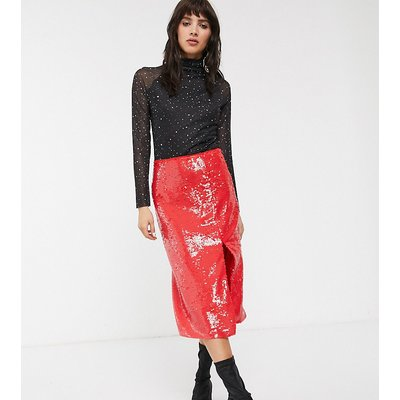 Glamorous midi pencil skirt in premium sequin-Red
