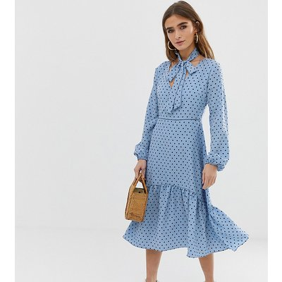 Glamorous Petite midi dress with neck tie in spot print-Blue