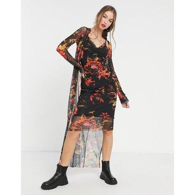 Hope & Ivy 90s slip & duster set in black floral-Multi